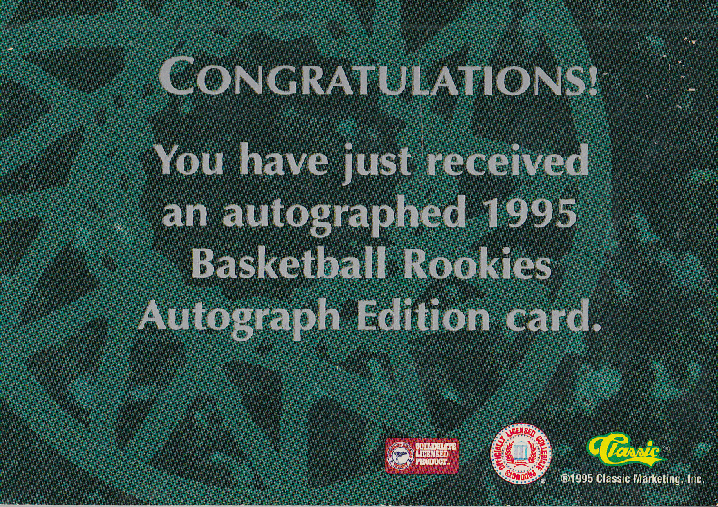 1995 Classic Autographs #32 Andrew DeClercq/4080 back image