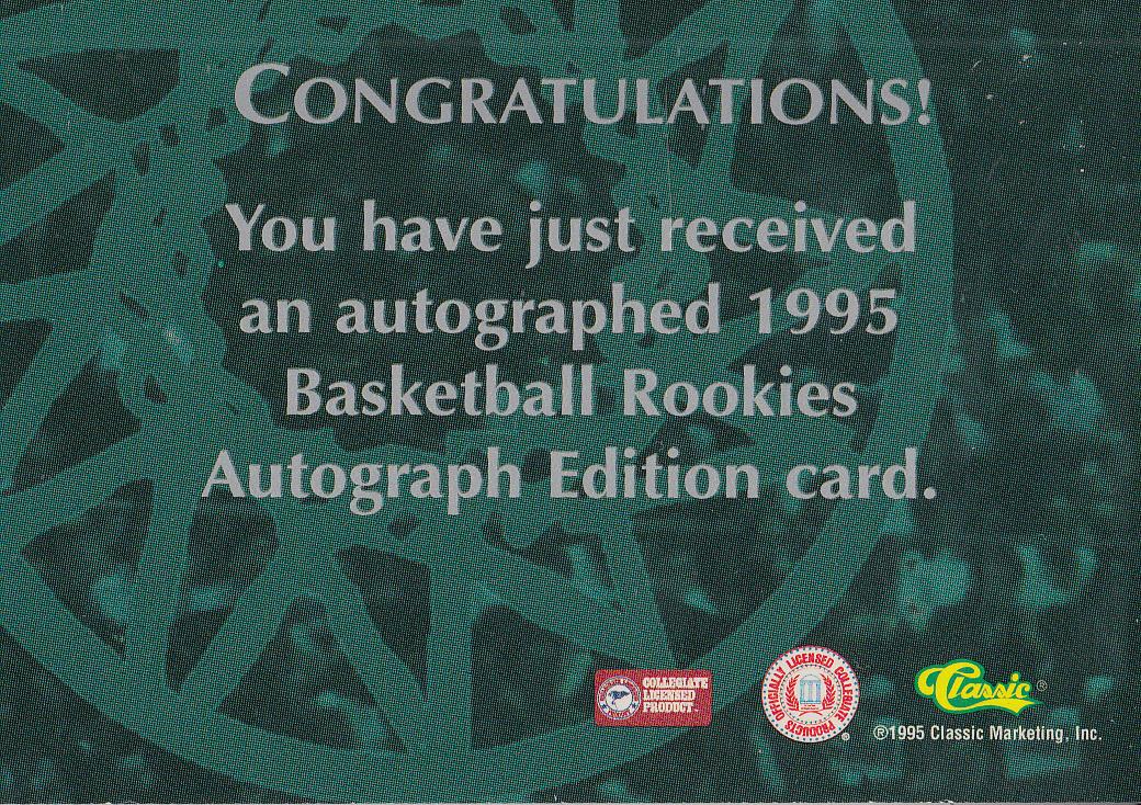 1995 Classic Autographs #39 Erik Meeks/3165 back image