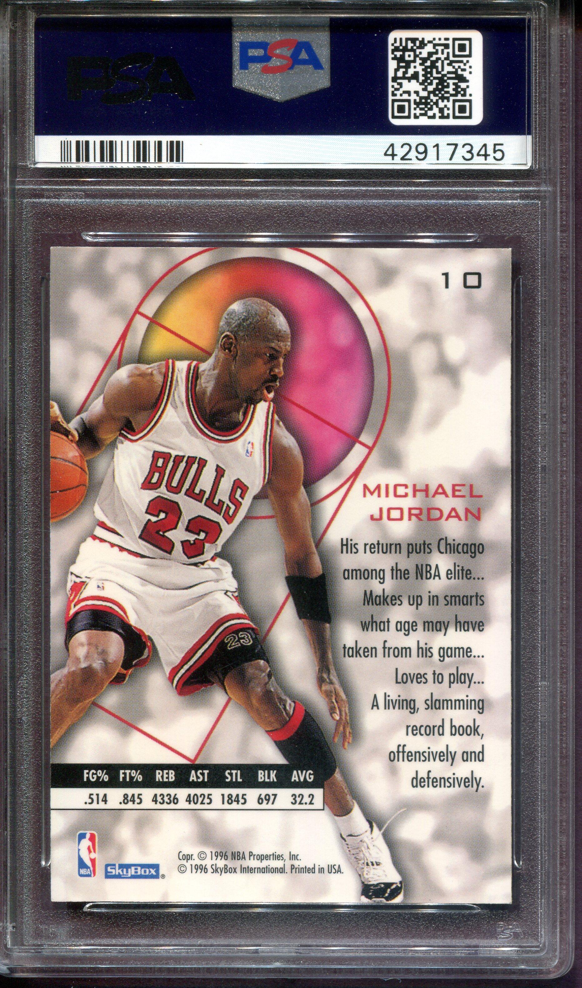 1995-96 E-XL #10 Michael Jordan back image