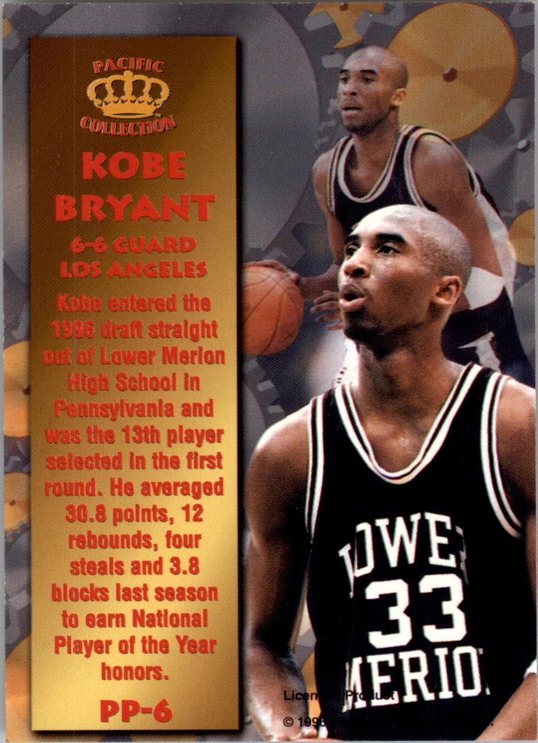 1996 Pacific Power #6 Kobe Bryant back image