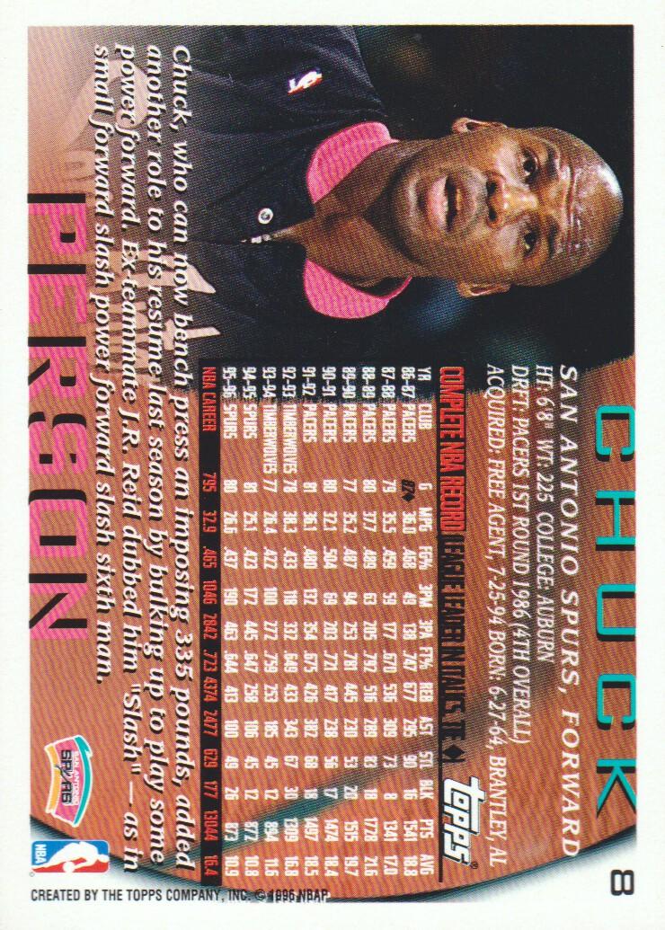 1996-97 Topps NBA at 50 #8 Chuck Person back image