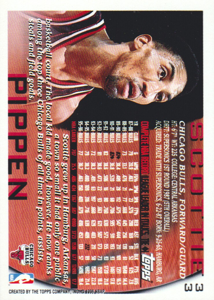 1996-97 Topps NBA at 50 #33 Scottie Pippen back image