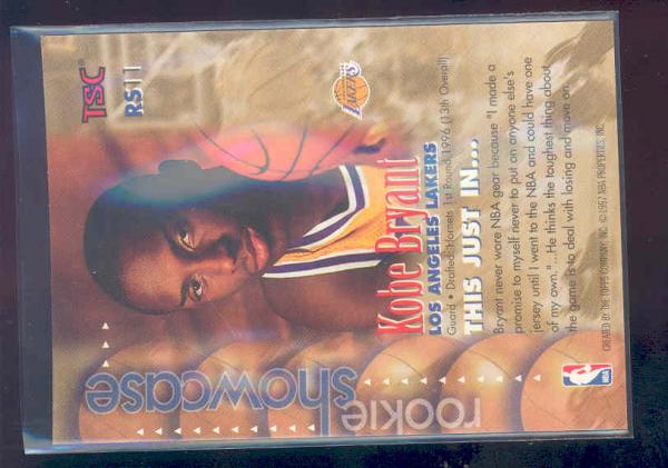 1996-97 Stadium Club Rookie Showcase #RS11 Kobe Bryant back image
