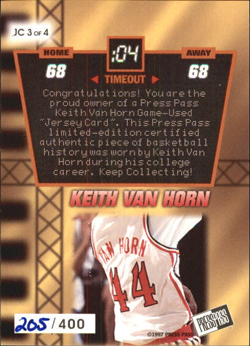 1997 Press Pass Jersey Cards #JC3 Keith Van Horn DT back image