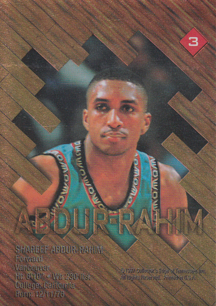 1997 Collector's Edge Game Ball #3 Shareef Abdur-Rahim back image