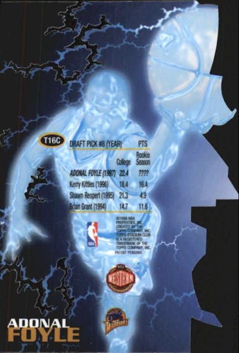 1997-98 Stadium Club Triumvirate Luminescent #T16C Adonal Foyle back image