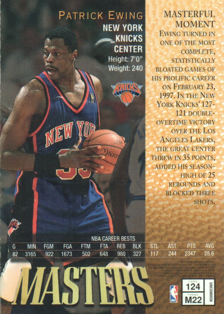 1997-98 Finest Embossed #124 Patrick Ewing S back image