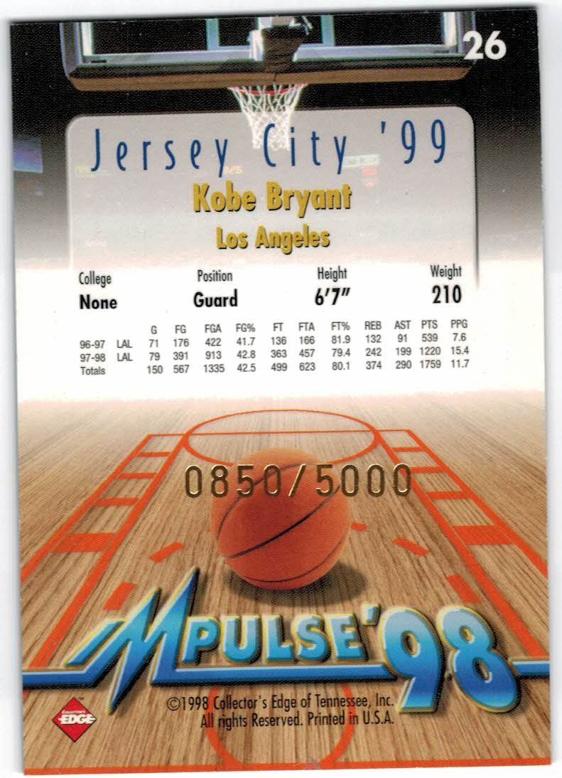 1998 Collector's Edge Impulse Jersey City '99 Gold #26 Kobe Bryant back image