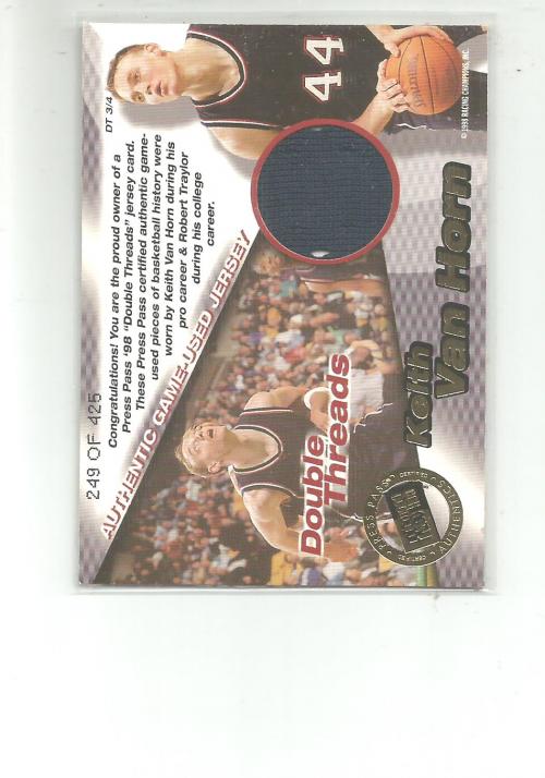 1998 Press Pass Double Threat Double Thread Jerseys #DT3 Robert Traylor/Keith Van Horn back image