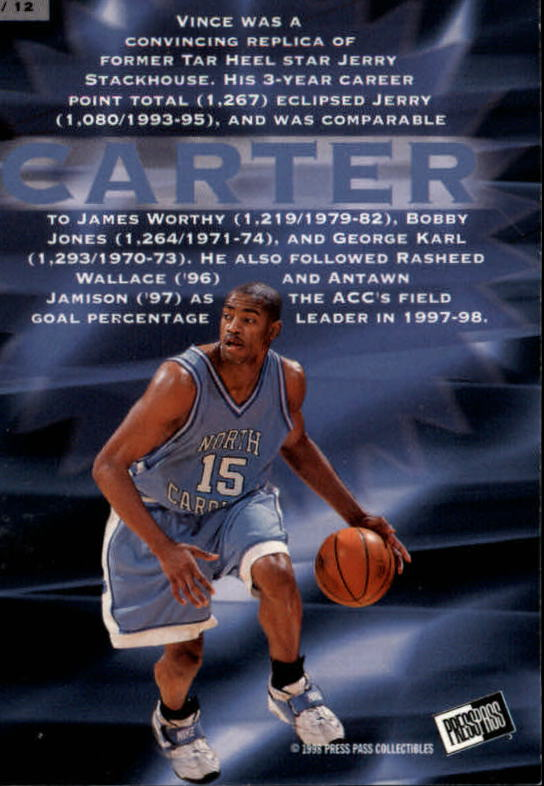 1998 Press Pass Fastbreak #FB4 Vince Carter back image