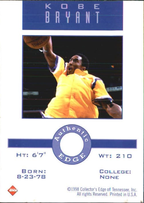 1998 Collector's Edge Impulse Memorable Moments #1 Kobe Bryant back image