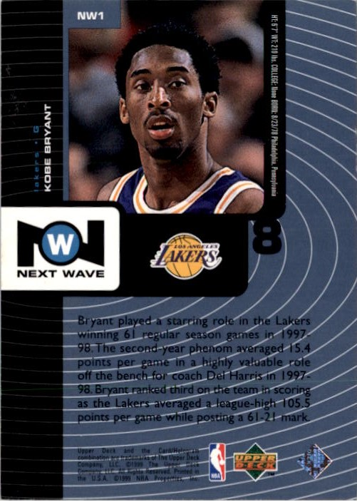 1998-99 Upper Deck Next Wave #NW1 Kobe Bryant back image