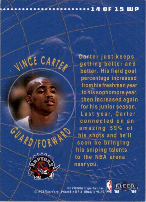 1998-99 Ultra World Premiere #14 Vince Carter back image