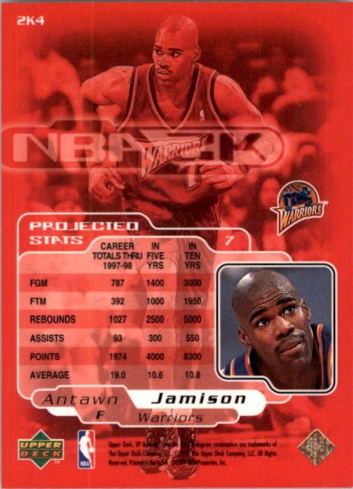 1998-99 SP Authentic NBA 2K #2K4 Antawn Jamison back image