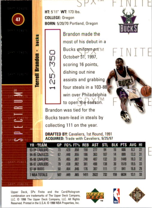 1998-99 SPx Finite Spectrum #47 Terrell Brandon back image