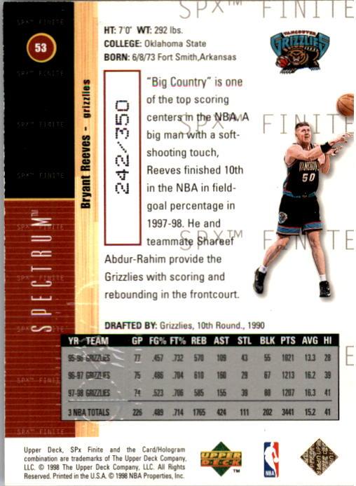 1998-99 SPx Finite Spectrum #53 Bryant Reeves back image