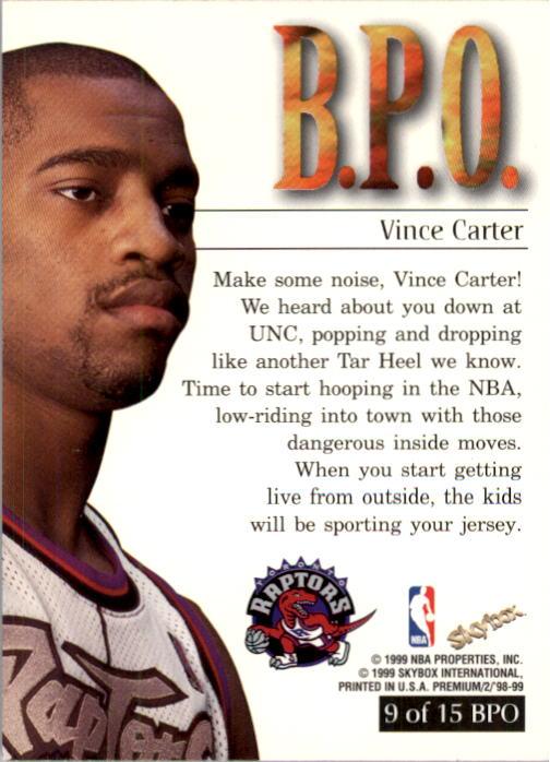 1998-99 SkyBox Premium B.P.O. #9 Vince Carter back image