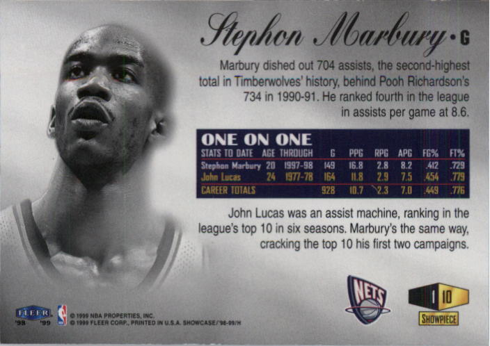 1998-99 Flair Showcase Row 1 #10 Stephon Marbury back image