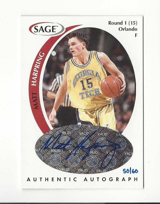 1999 SAGE Autographs Bonus White #A17 Matt Harpring/60
