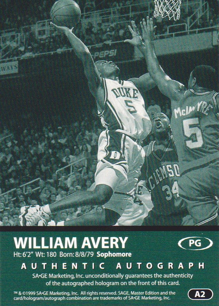 1999 SAGE Autographs Silver #A2 William Avery/400 back image