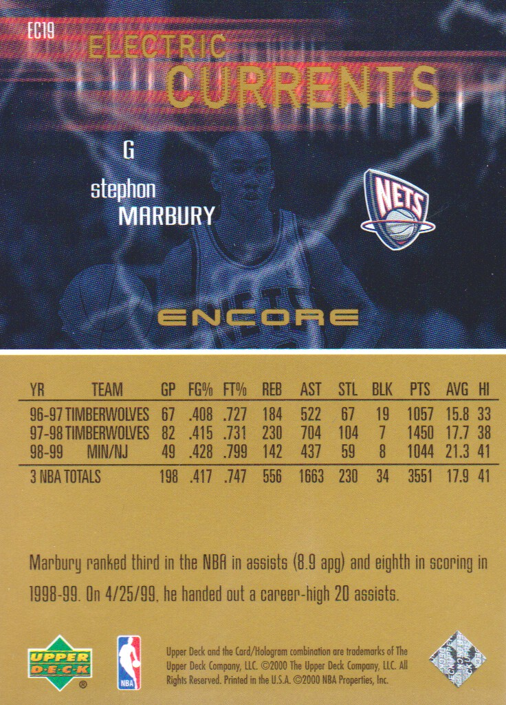 1999 00 Upper Deck Encore Electric Curs Basketball