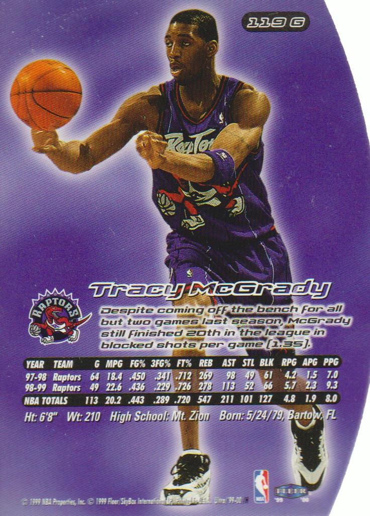1999-00 Ultra Gold Medallion #119 Tracy McGrady back image