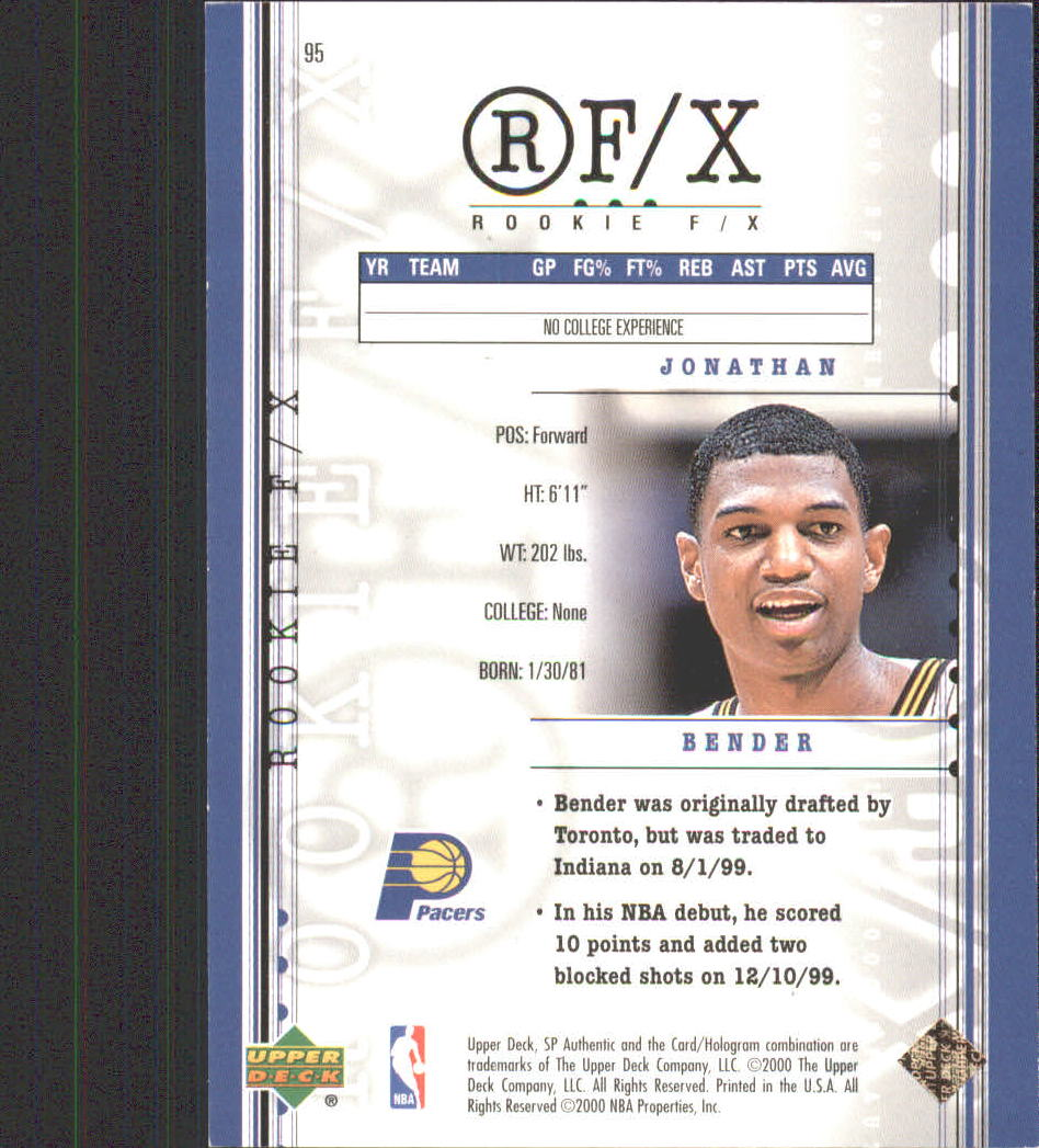 1999-00 SP Authentic #95 Jonathan Bender RC back image