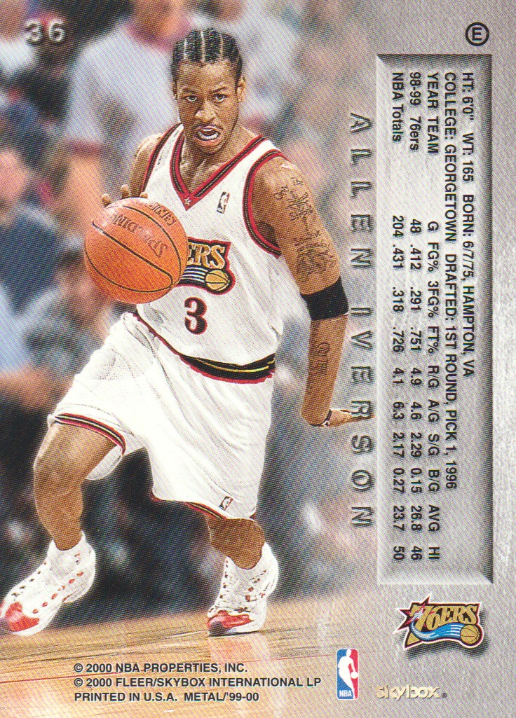 1999-00 Metal Emeralds #36 Allen Iverson back image