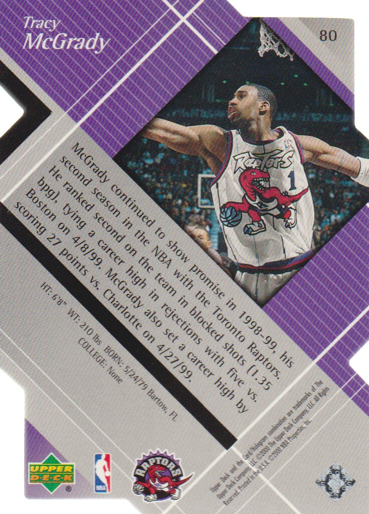 1999-00 Black Diamond Diamond Cut #80 Tracy McGrady back image