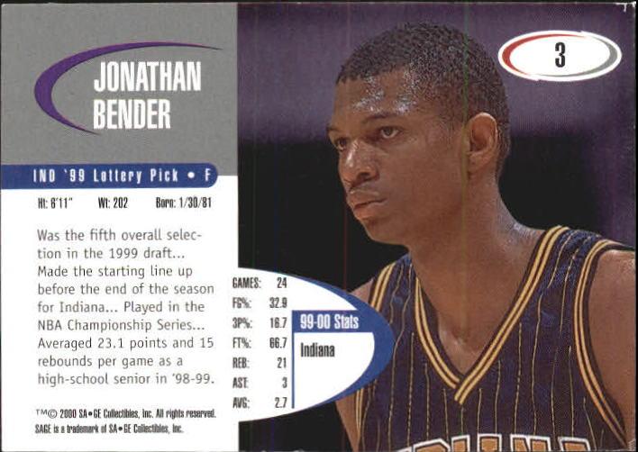 2000 SAGE #3 Jonathan Bender back image