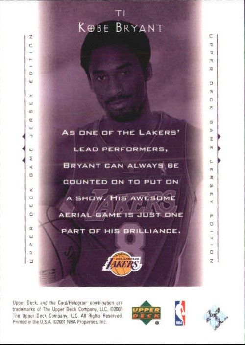 2000-01 Upper Deck Touch the Sky #T1 Kobe Bryant back image