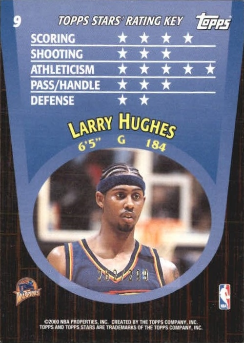 2000-01 Topps Stars Parallel #9 Larry Hughes back image