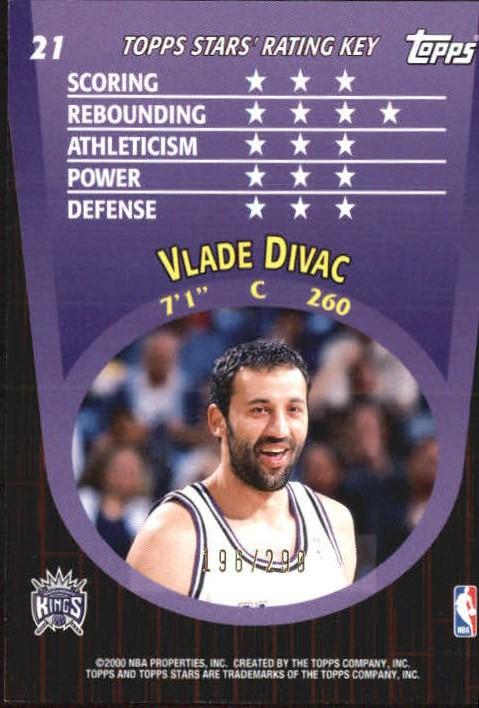 2000-01 Topps Stars Parallel #21 Vlade Divac back image