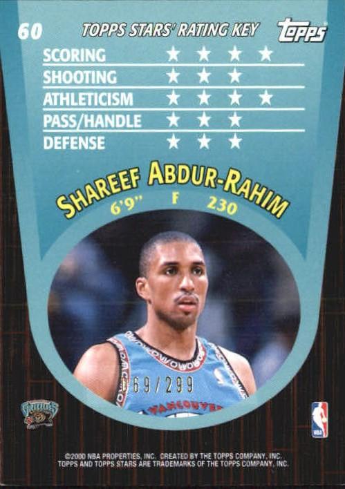 2000-01 Topps Stars Parallel #60 Shareef Abdur-Rahim back image