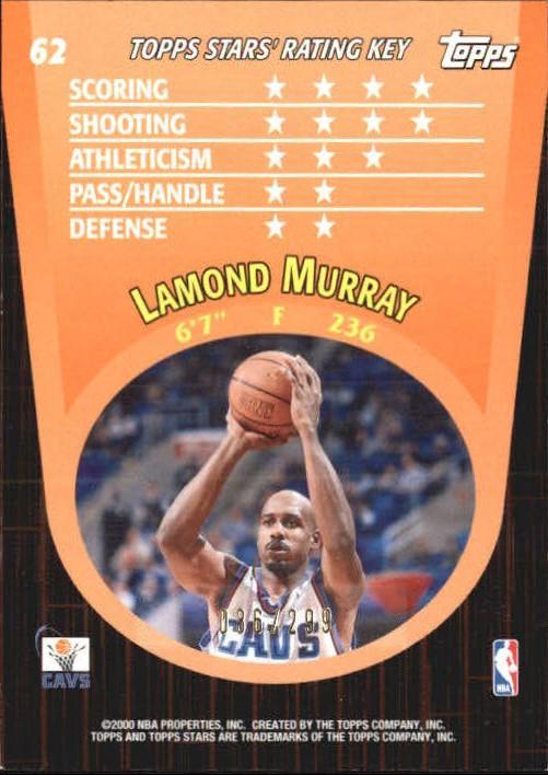 2000-01 Topps Stars Parallel #62 Lamond Murray back image