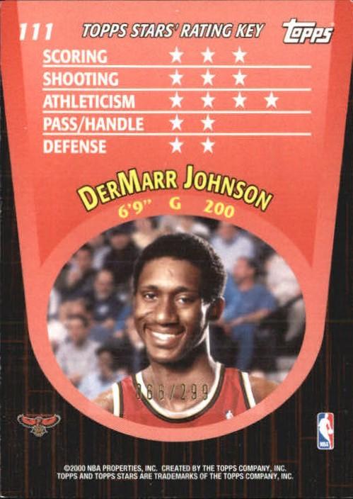 2000-01 Topps Stars Parallel #111 DerMarr Johnson back image