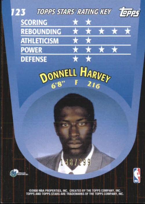 2000-01 Topps Stars Parallel #123 Donnell Harvey back image