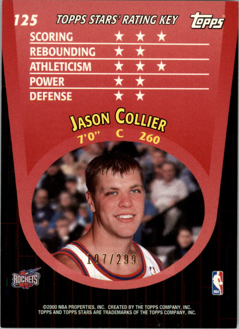 2000-01 Topps Stars Parallel #125 Jason Collier back image