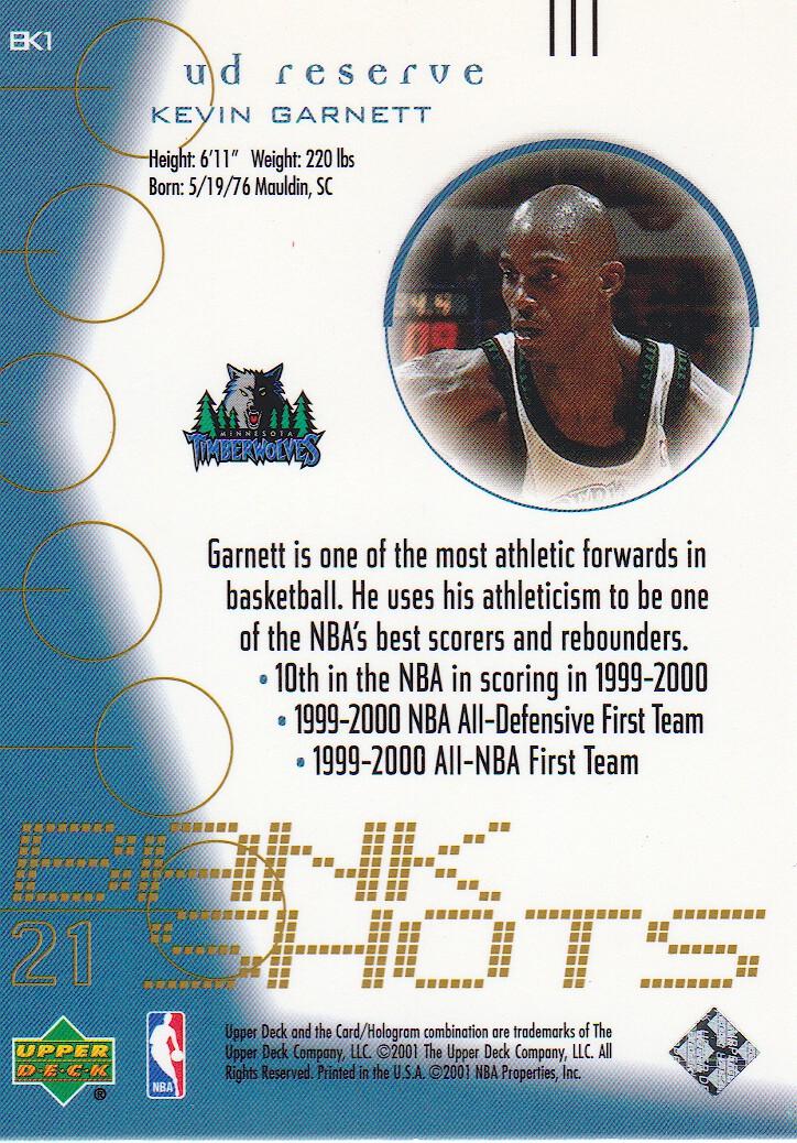 2000-01 UD Reserve Bank Shots #BK1 Kevin Garnett back image