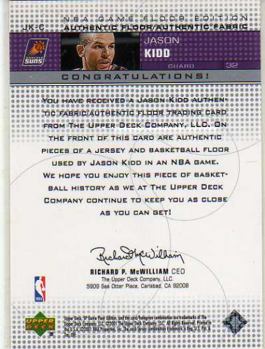 2000-01 SP Game Floor Authentic Fabric/Floor Combos #JKC Jason Kidd back image