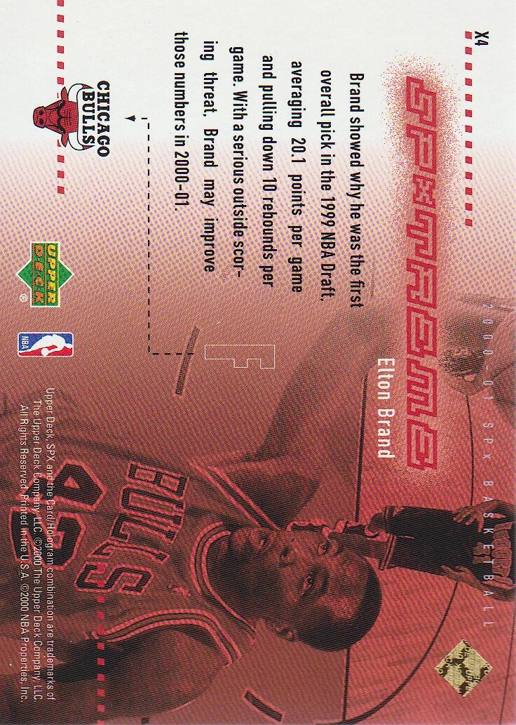 2000-01 SPx Spxtreme #X4 Elton Brand back image