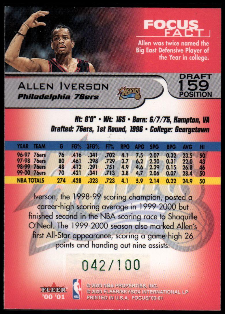2000-01 Fleer Focus Draft Position #159 Allen Iverson/100 back image