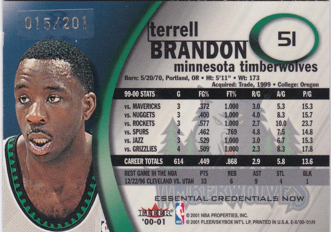 2000-01 E-X Essential Credentials #51 Terrell Brandon back image