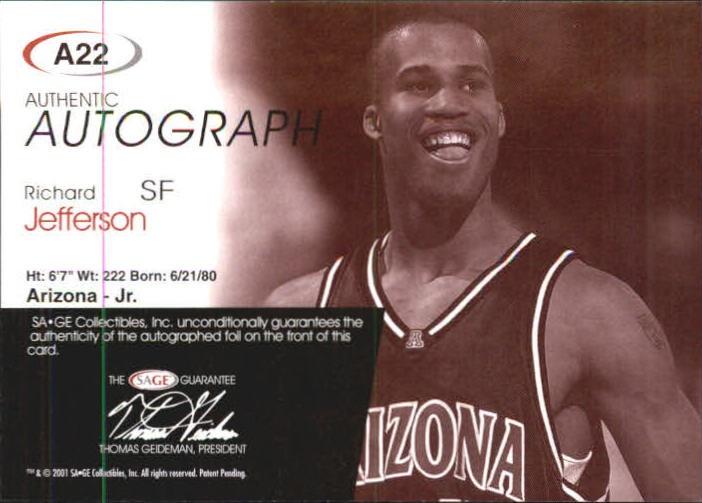 2001 SAGE Autographs Silver #A22 Richard Jefferson/325 back image