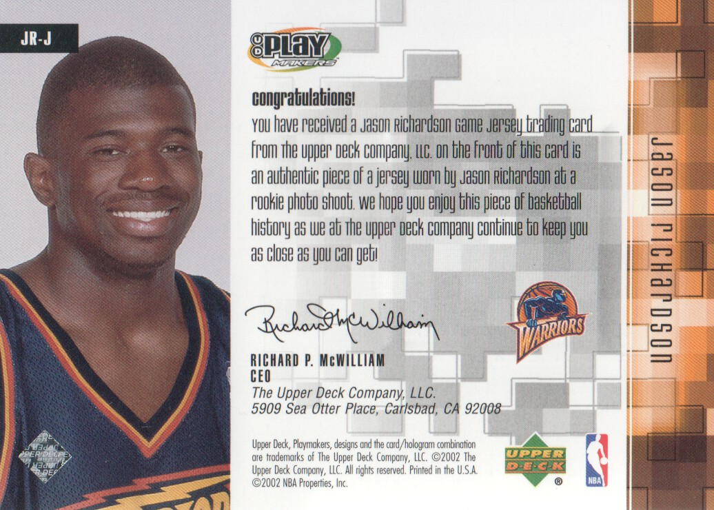 2001-02 Upper Deck Playmakers PC Game Jersey #JRJ Jason Richardson back image