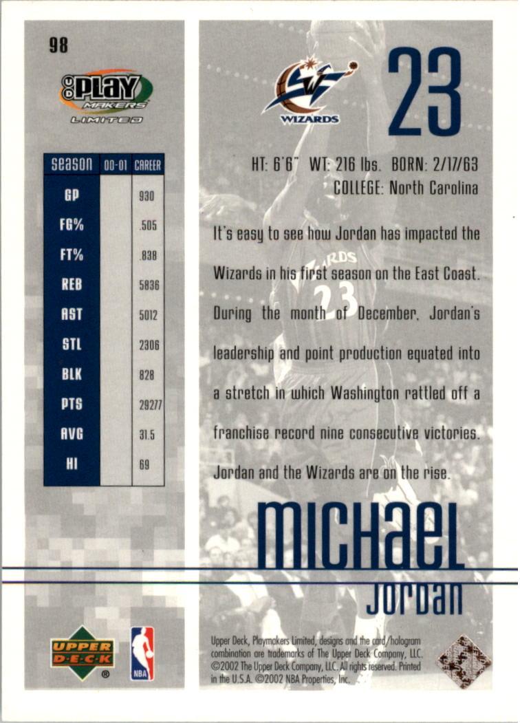2001 UD Playmakers Limited #98 Michael Jordan Washington Wizards Basketball Card