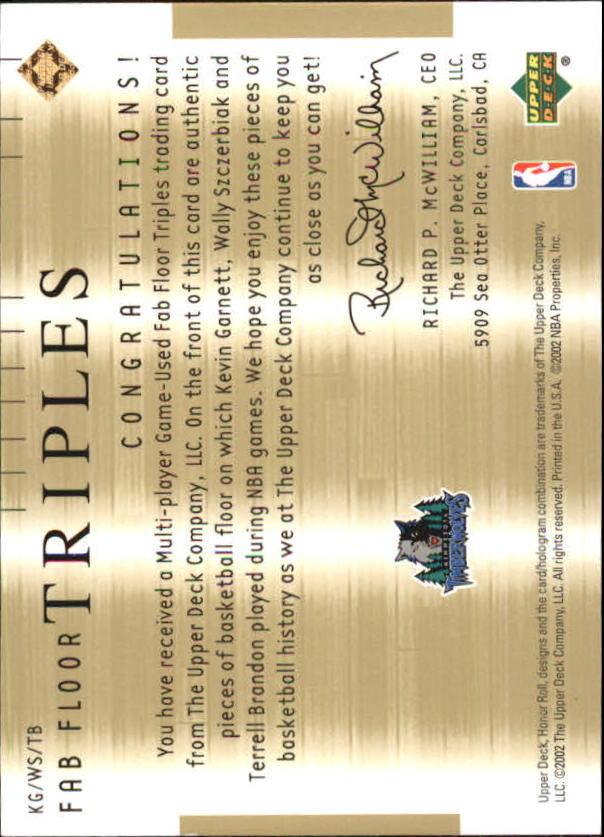 2001-02 Upper Deck Honor Roll Fab Floor Triples #3 Kevin Garnett/Wally Szczerbiak/Terrell Brandon back image