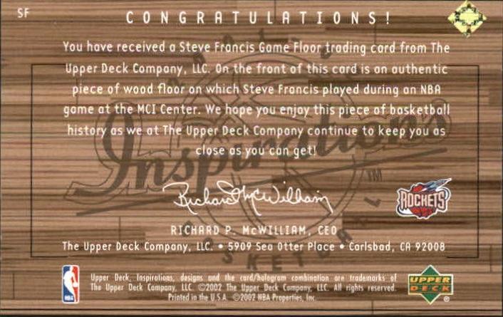 2001-02 Upper Deck Inspirations Hardwood Imagery #SF Steve Francis back image