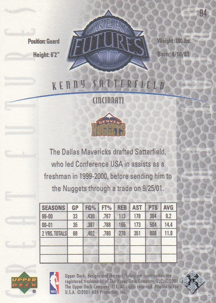 2001-02 Upper Deck Legends #94 Kenny Satterfield RC back image