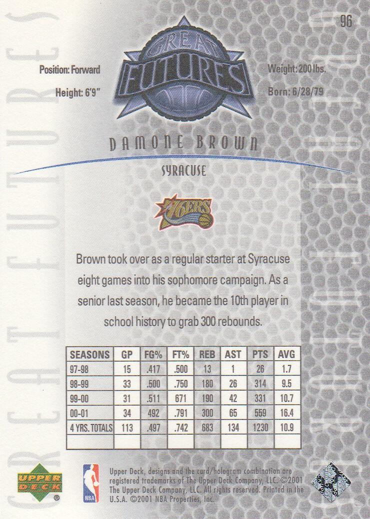 2001-02 Upper Deck Legends #96 Damone Brown RC back image